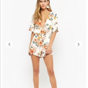 Tie-Front Floral Print Romper from Forever 21